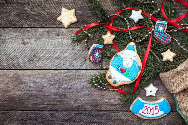 Stok fotoğraf: Yılbaşı · 2015 · koyun · kurabiye · dekorasyon · ahşap