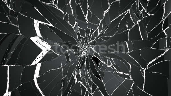 Shattered and cracked glass on white Stock photo © Arsgera