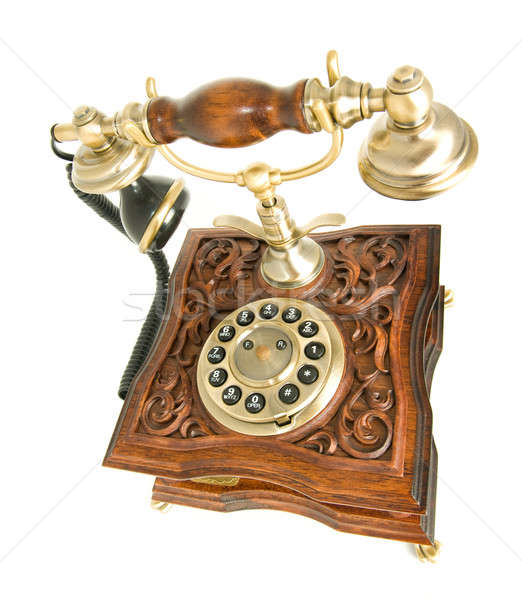 Top side view of antique telephone Stock photo © Arsgera