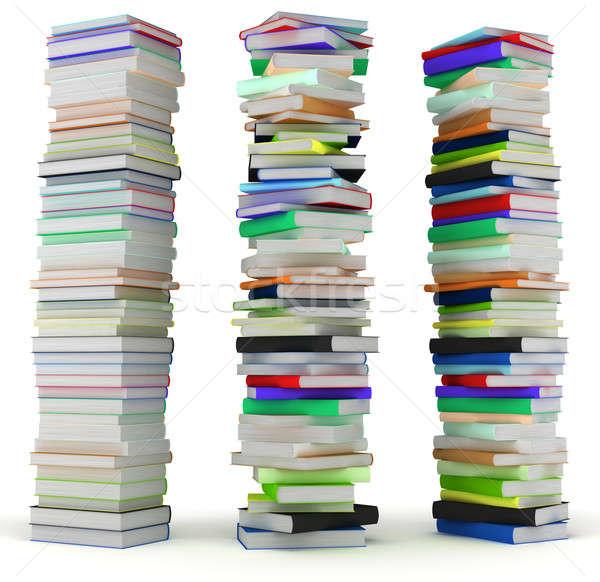 Edukacji mądrość wysoki książek odizolowany biały Zdjęcia stock © Arsgera