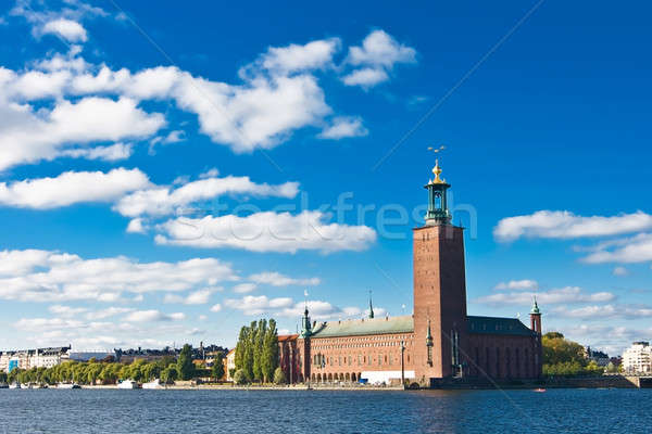 Stockholm city hall and blue sky Stock photo © Arsgera