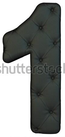 Luxury black leather font 1 figure Stock photo © Arsgera