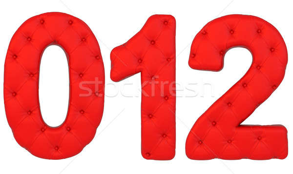 Luxury red leather font 0 1 2 numerals isolated Stock photo © Arsgera