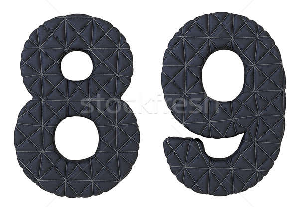 Stitched leather font 8 9 numerals Stock photo © Arsgera