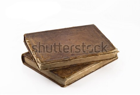 Stack of Old frayed books isolated over white Stock photo © Arsgera