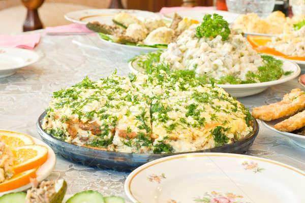 Tasty pie. Banquet in the restaurant Stock photo © Arsgera