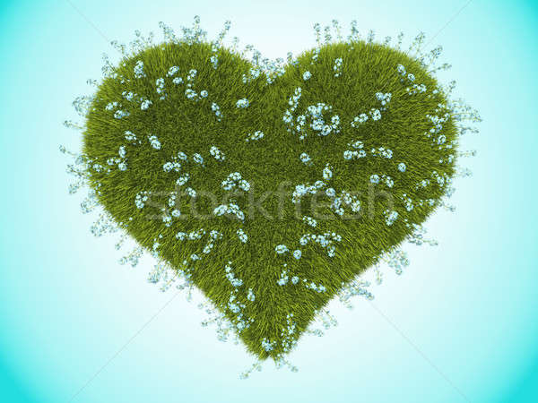 Green grass heart with forget-me-not flowers Stock photo © Arsgera