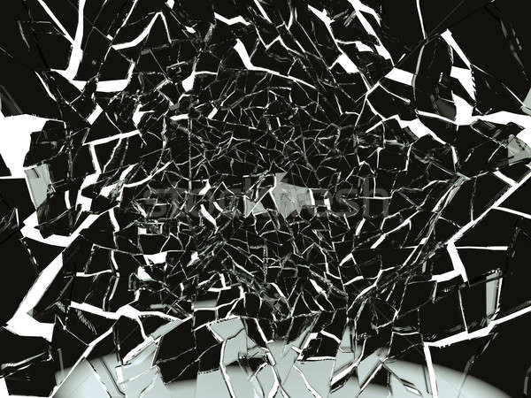 Pieces of Broken or Shattered black glass isolated Stock photo © Arsgera