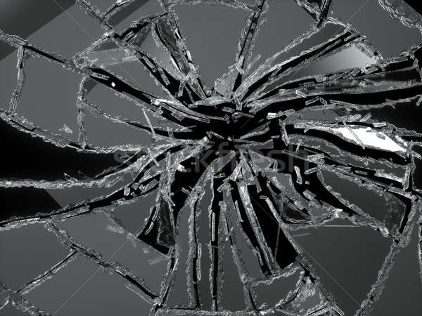 Shattered or damaged glass Pieces isolated Stock photo © Arsgera