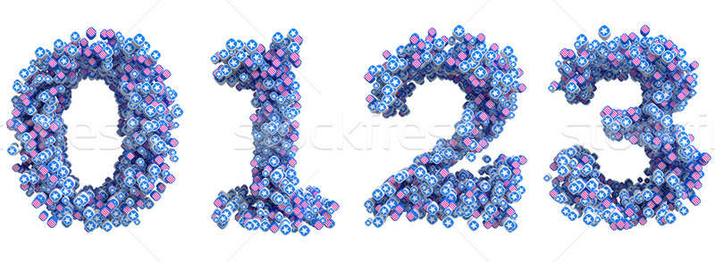 Patriotic USA font 0 1 2 3 numerals Stock photo © Arsgera