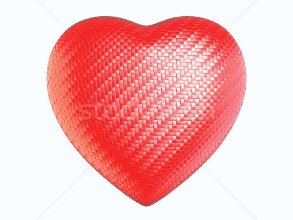 Stock photo: Red wattled fiber heart shape isolated