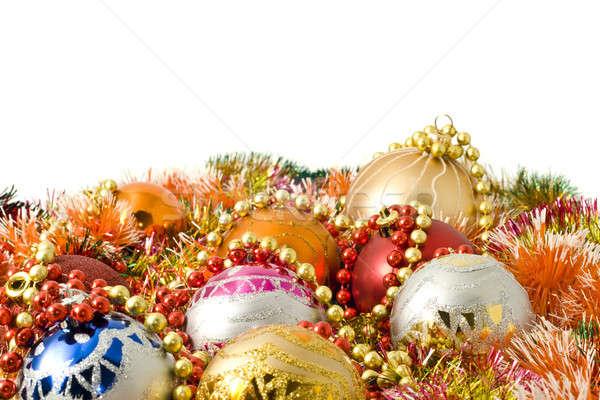 Foto stock: Navidad · año · nuevo · decoración · colorido · blanco