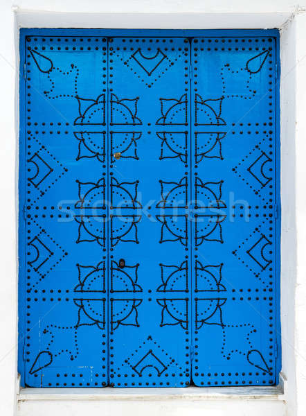 Traditional door from Sidi Bou Said in Tunisia Stock photo © Arsgera