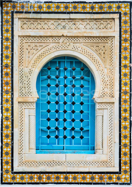 Traditional window with pattern and tiles from Sidi Bou Said Stock photo © Arsgera