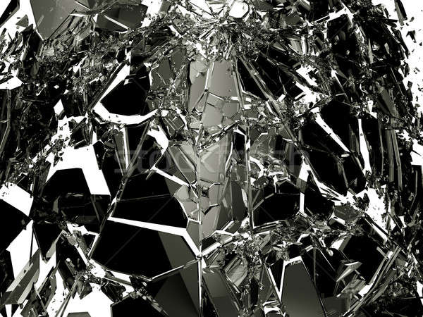 Pieces of Broken Shattered black glass isolated on white Stock photo © Arsgera