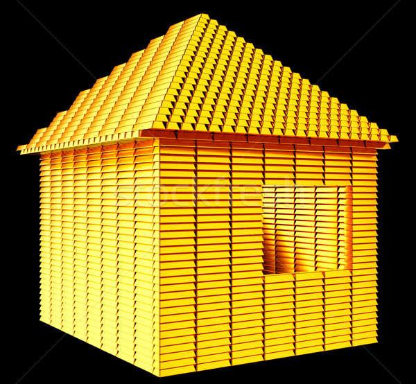 Değerli gayrimenkul altın çubuklar ev biçim Stok fotoğraf © Arsgera