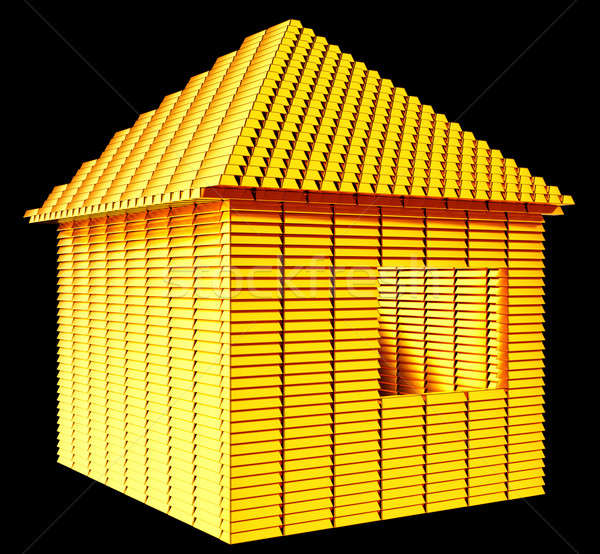 Valioso inmobiliario oro bares casa forma Foto stock © Arsgera