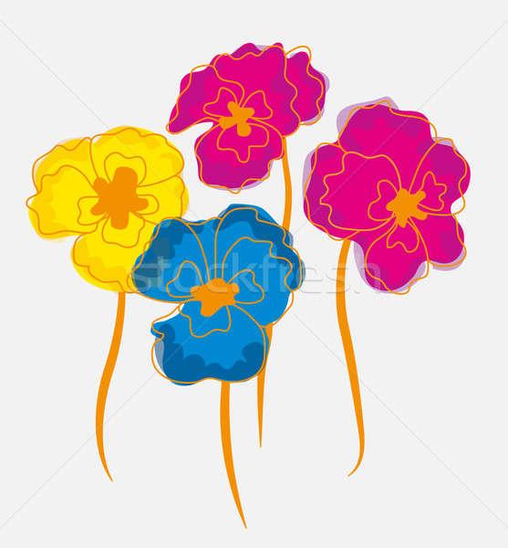 Pansies or  Indian cress flowers illustration Stock photo © Arsgera