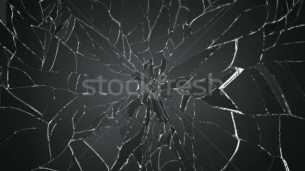 Foto stock: Peças · quebrado · rachado · vidro · branco · grande