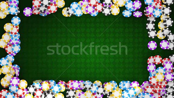 Foto d'archivio: Casino · roulette · chip · frame · verde · tavola
