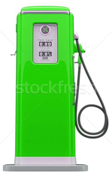 Klasszikus zöld benzinpumpa izolált fehér oldalnézet Stock fotó © Arsgera