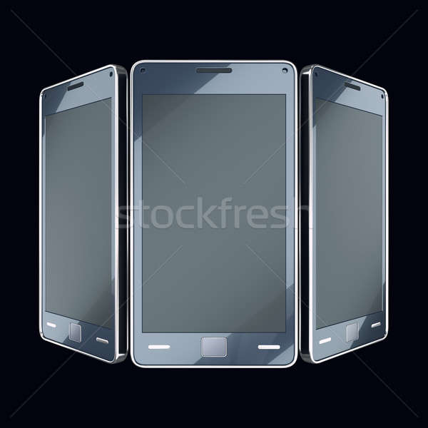 Communication and mobility: smart phones with touch screens on b Stock photo © Arsgera