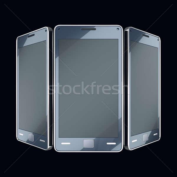Communication mobilité puce téléphones touch noir Photo stock © Arsgera