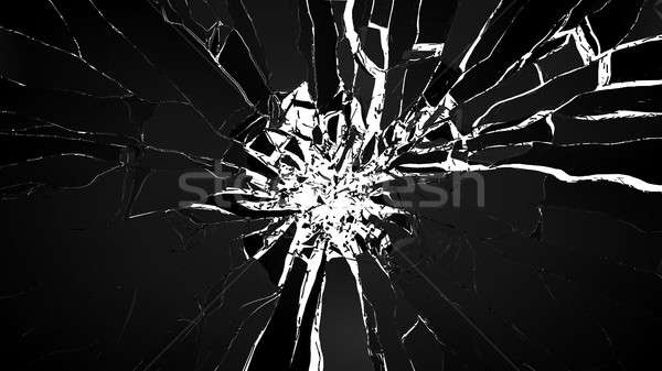 Demolishing: pieces of cubic shattered glass isolated Stock photo © Arsgera