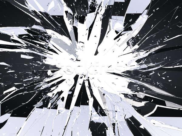Peças vidro quebrado branco grande abstrato Foto stock © Arsgera
