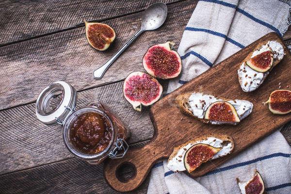 おいしい ブルスケッタ スナック ナプキン 素朴な スタイル ストックフォト © Arsgera