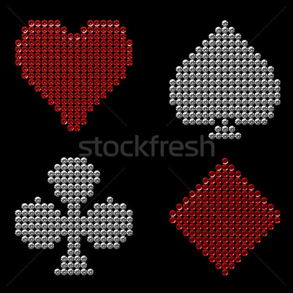 Colorful Diamond shaped Card Suits Stock photo © Arsgera