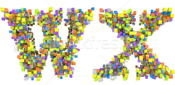 Abstract cubic font W and X letters Stock photo © Arsgera