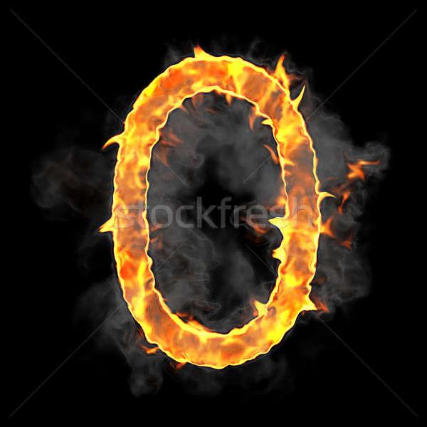 Brucia fiamma carattere numerale nero texture Foto d'archivio © Arsgera