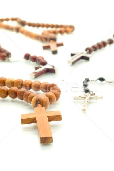 Religion Vielfalt Rosenkranz Perlen weiß Schwerpunkt Stock foto © Arsgera