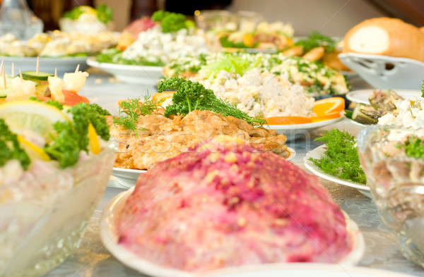 Banket restaurant gericht een schotel ondiep Stockfoto © Arsgera