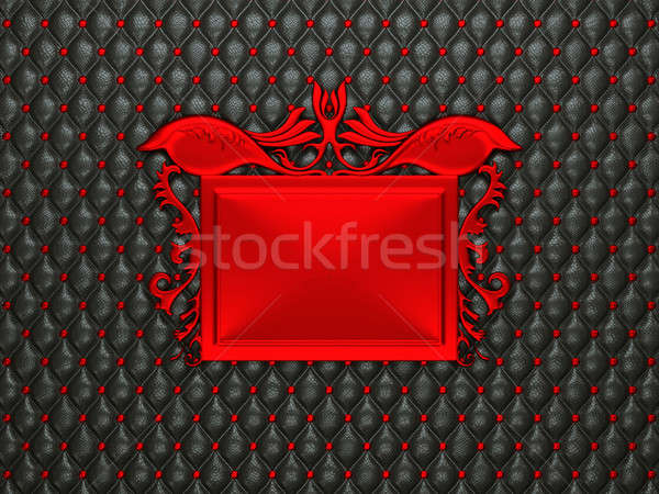 Black leather background with red stucco moulding frame for capt Stock photo © Arsgera