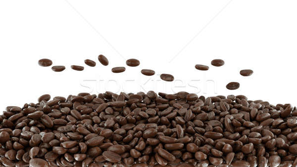 Tossed roasted coffee beans isolated Stock photo © Arsgera