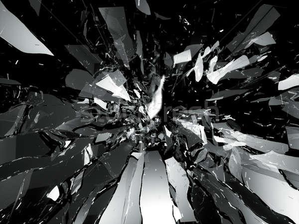 Quebrado vidro quebrado peças isolado preto abstrato Foto stock © Arsgera