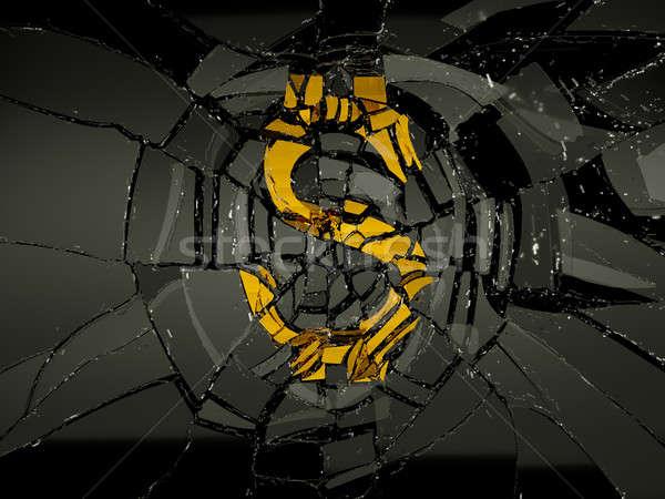Endommagé dollar symbole noir verre économie Photo stock © Arsgera