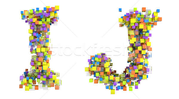 Abstract cubes font I and J letters isolated Stock photo © Arsgera