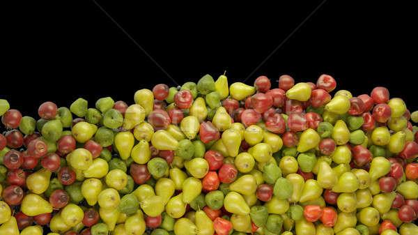 Gyümölcs mix halom almák körték fekete egészséges étkezés Stock fotó © Arsgera