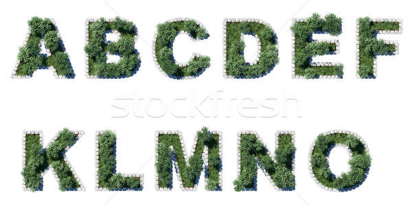 Green park font with grey cubing border Stock photo © Arsgera