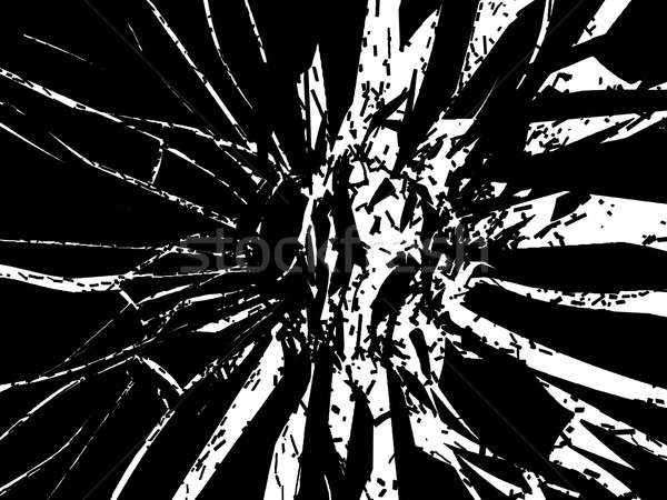 Shattered or smashed pieces of black glass isolated  Stock photo © Arsgera