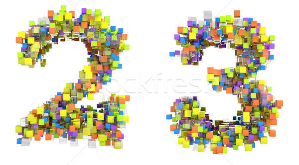 Abstract cubic font 2 and 3 figures  Stock photo © Arsgera
