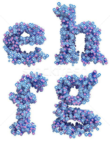 Patriotic USA font small E F G H letters Stock photo © Arsgera