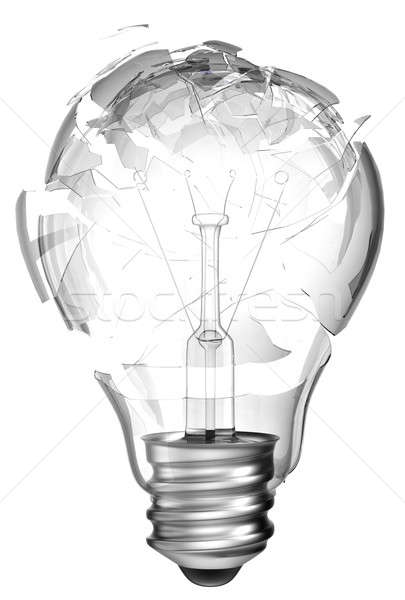 Making mistake. Smashed lightbulb isolated Stock photo © Arsgera