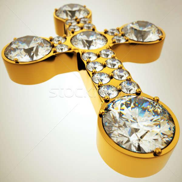 Széles látószögű kilátás arany kereszt gyémántok vallásos Stock fotó © Arsgera