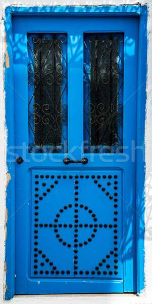 Azul porta ornamento símbolo Tunísia grande Foto stock © Arsgera