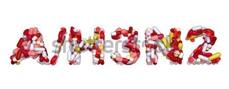 Sertés influenza vírus szó tabletták izolált Stock fotó © Arsgera