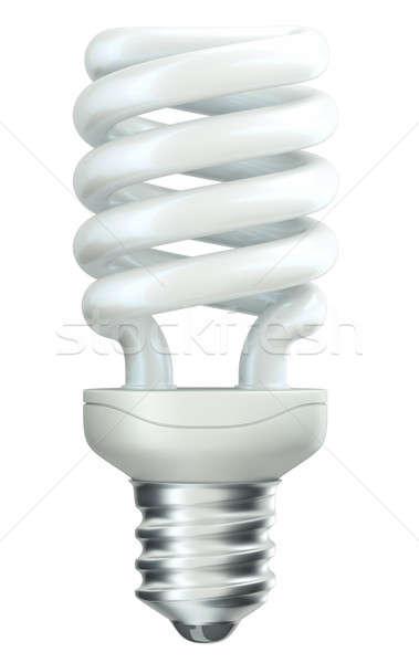 La eficiencia energética espiral bombilla blanco aislado verde Foto stock © Arsgera